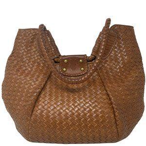 Frye Rare Brown Woven Leather Hobo Shoulder Bag